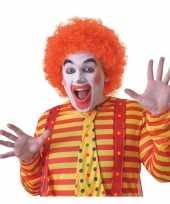 Verkleed clown pruik oranje voor volwassenen