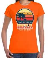 What happens in ibiza stays in ibiza shirt beach party vakantie outfit kleding oranje voor dames