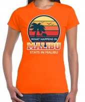 What happens in malibu stays in malibu shirt beach party vakantie outfit kleding oranje voor dames