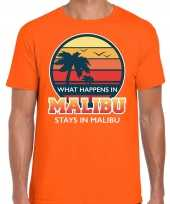 What happens in malibu stays in malibu shirt beach party vakantie outfit kleding oranje voor heren