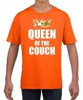 Woningsdag queen of the couch t-shirts voor thuisblijvers tijdens koningsdag oranje meisjes kinderen
