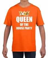 Woningsdag queen of the house party t-shirts voor thuisblijvers tijdens koningsdag oranje kinderen meisjes