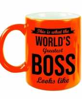 Worlds greatest boss cadeau mok beker neon oranje 330 ml