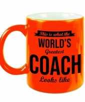 Worlds greatest coach cadeau mok beker neon oranje 330 ml