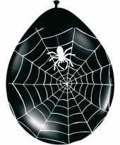Zwart met oranje horror ballonnen met spinnenweb 8 stuks